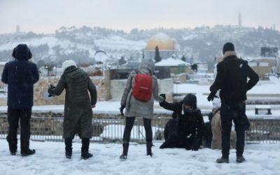 Wintersturm in Israel mit viel Schnee in Jerusalem